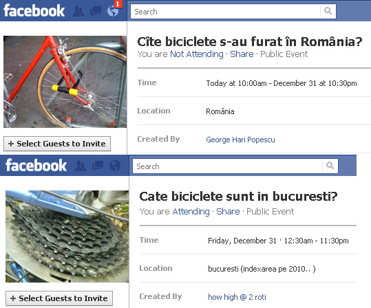 Recensăminte despre biciclete pe Facebook