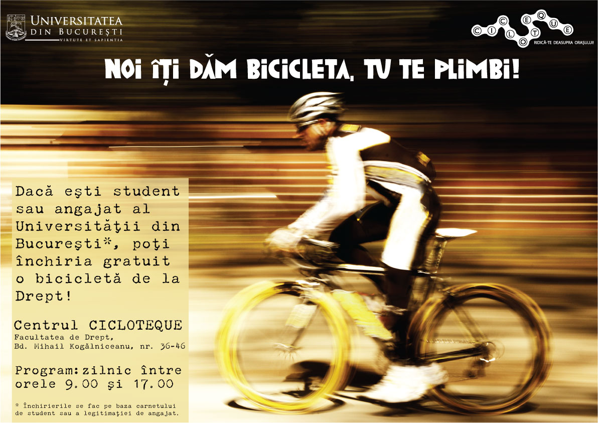 Biciclete gratuite pentru studenţii şi angajaţii Universităţii din Bucureşti
